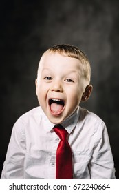 little boy emotions. shouting happy