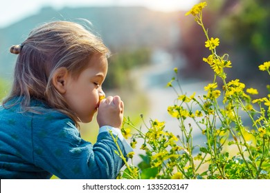 Little boy enjoying flowers aroma, with pleasure with closed eyes smelling gentle yellow wild flowers, enjoying beauty of fresh spring nature
