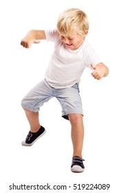 LITTLE BOY EXERCISING, JUMPING, STAMPING, SMILING HAPPY ISOLATED ON WHITE BACKGROUND