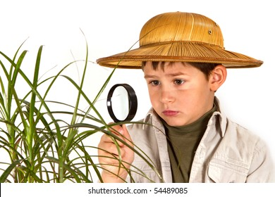 little boy explorer examining tropical plant with magnifying glass