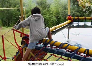 little boy flaying