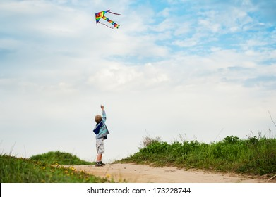 Little boy flies his bright kite into the blue sky, standing his back