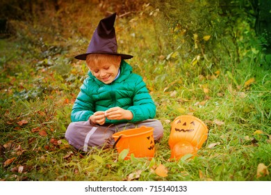 little boy get ready for halloween party