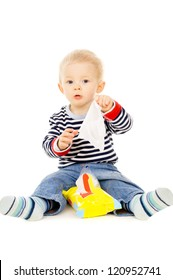 the little boy gets the wet wipes, and is played isolated on white background