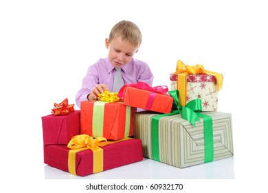 little boy with gifts. Isolated on white background