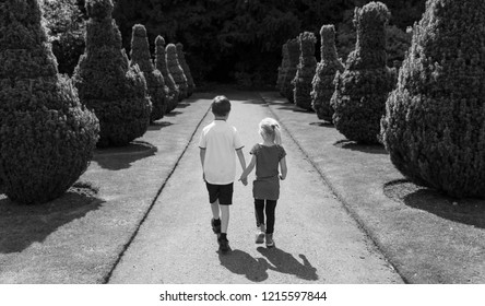 A little boy and girl, brother and sister playing at the Beautiful Hylands Park in Chelmsford, Essex UK