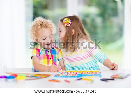 Little Boy Girl Draw Together White Stock Photo Edit Now 563737243