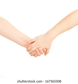 Little boy and girl holding hands. Friendship and love concept. Isolated on white background,  ready for your text, logo, letters or symbols.