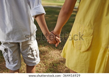 Little Boy Girl Holding Hands First Stock Photo Edit Now 364416929