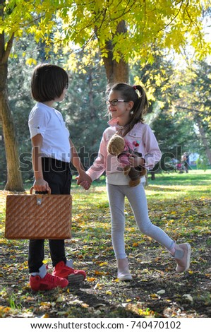 Little Boy Girl Holding Hands Walk Stock Photo Edit Now 740470102