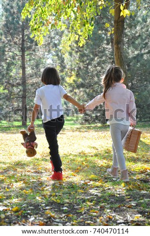 Little Boy Girl Holding Hands Walk Stock Photo Edit Now 740470114