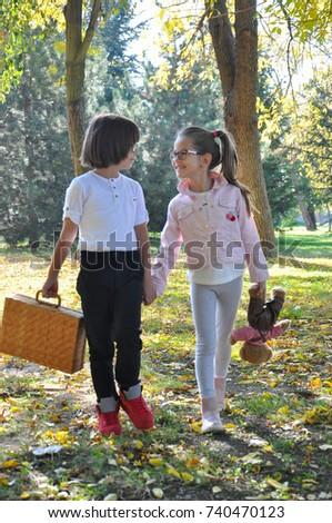 Little Boy Girl Holding Hands Walk Stock Photo Edit Now 740470123