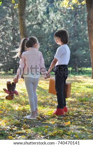 Little Boy Girl Holding Hands Walk Stock Photo Edit Now 740470141