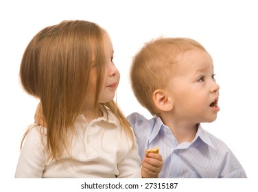 little boy and girl on a white background