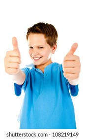little boy giving a thumbs up