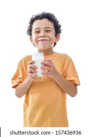 Little Boy with Glass of Milk Isolated on White Background
