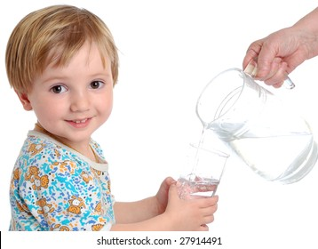 little boy with the glass of water