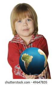 The little boy with the globe. It is isolated on a white background