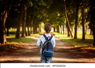 Little boy going back to school. Child with backpack and books on first school day. Back view.