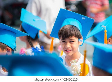 Little boy graduated at kindergarten school