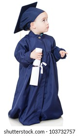 Little boy in a graduting gown - isolated over a white background