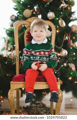 Little Boy Green Christmas Sweater Deers Stock Photo Edit Now