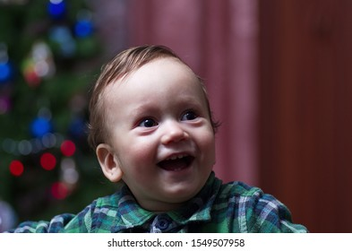 A little boy in a green shirt stands at a festive Christmas tree.