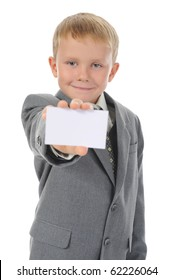 little boy handing a white blank. Isolated on white background