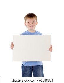 little boy has control over the empty poster