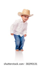 Little boy with a hat dancing