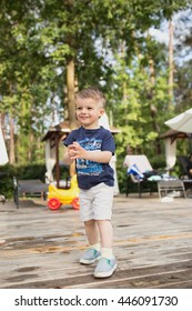 a little boy having fun