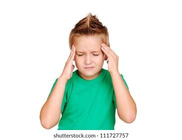 Little boy having a headache