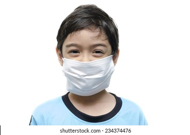 Little boy with health mask  protect on white background
