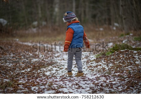 93ff89965 Little Boy Hiking Woods On Winter Stock Photo (Edit Now) 758212630 ...