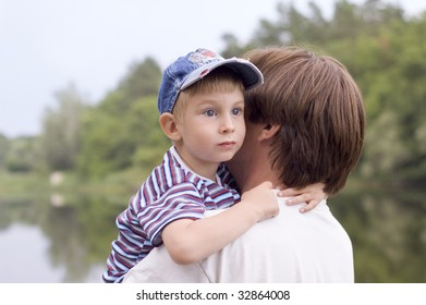 little boy with his father outdoor