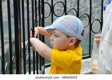 Little boy with his parents in the zoo standing before cage