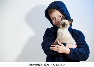 Little boy with his pet Siamese kitten in his arms