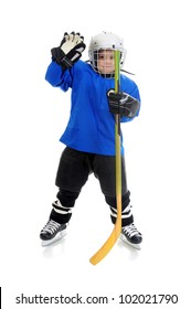 Little Boy Hockey Player. Isolated on white background