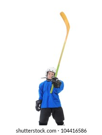 Little Boy Hockey Player. Isolated on white background