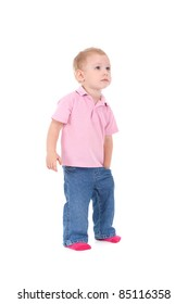 Little boy hold hand in pocket look up isolated over white background