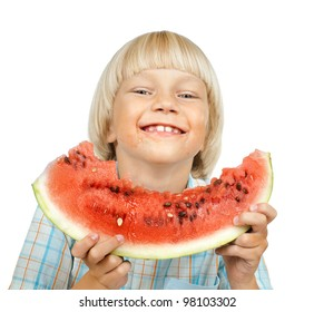 little boy hold watermelon, eating and smile, on white background, isolated