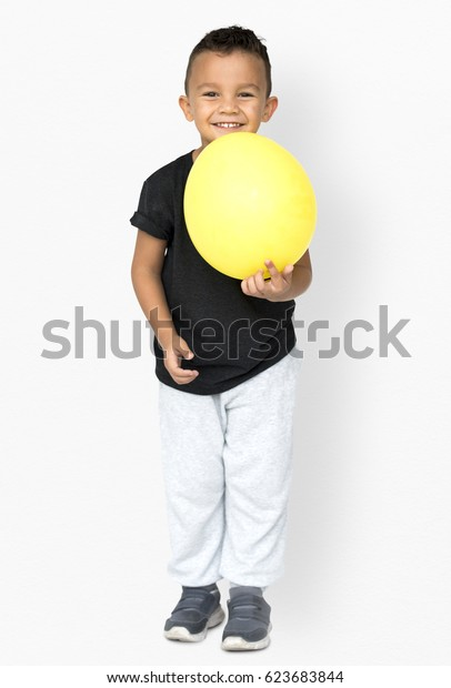 Little Boy Holding Balloon Party Studio Portrait