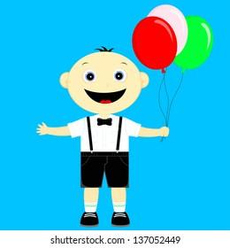 the little boy holding balloons