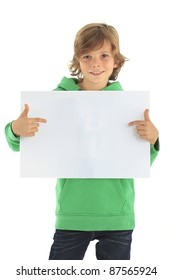 Little boy holding a blank sign against white background