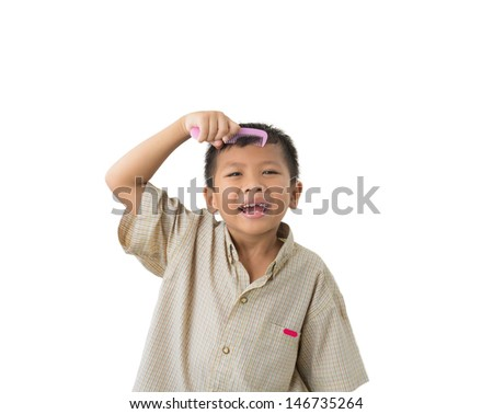 Little Boy Holding Comb Over White Stock Photo Edit Now 146735264