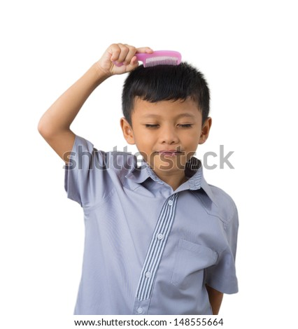 Little Boy Holding Comb Over White Stock Photo Edit Now 148555664