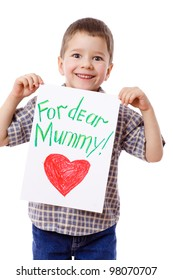 Little boy holding a drawing for mum, isolated on white