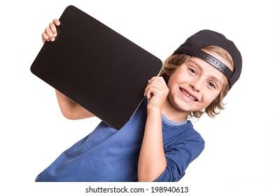 Little boy holding a empty chalkboard over white