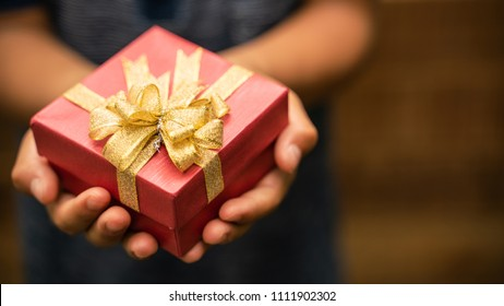 Little boy holding a gift box For birthday