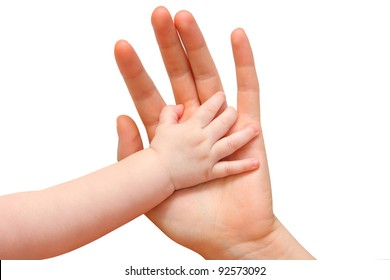 Little boy holding mom's hand isolated on white - Shutterstock ID 92573092